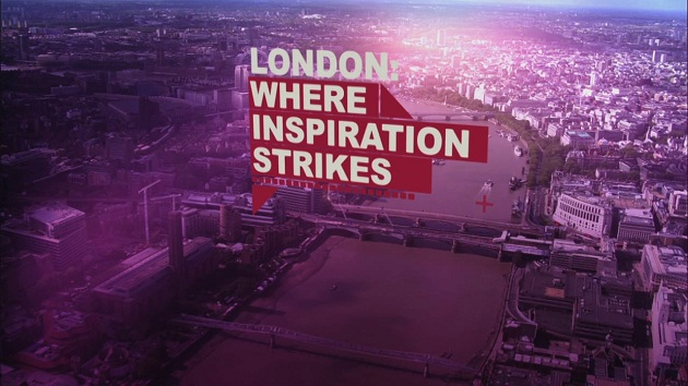 """Aerial photo of London with slogan """"London: where innovation strikes"""""""