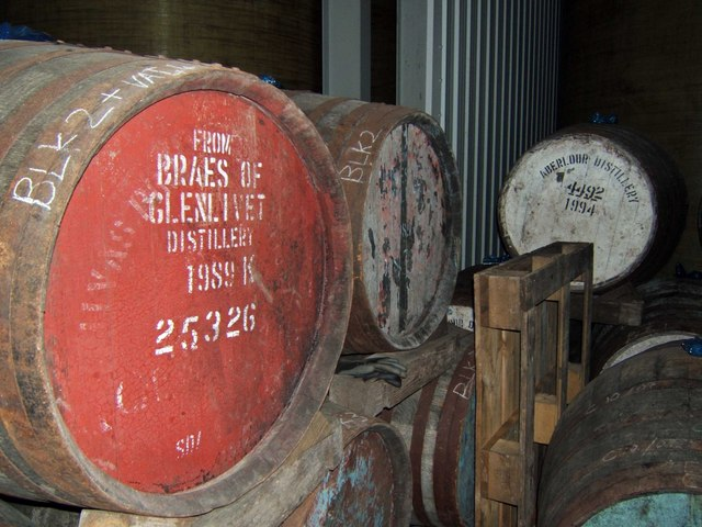 Whiskey maturing in barrels, since 1989