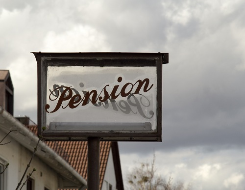 sign saying Pension